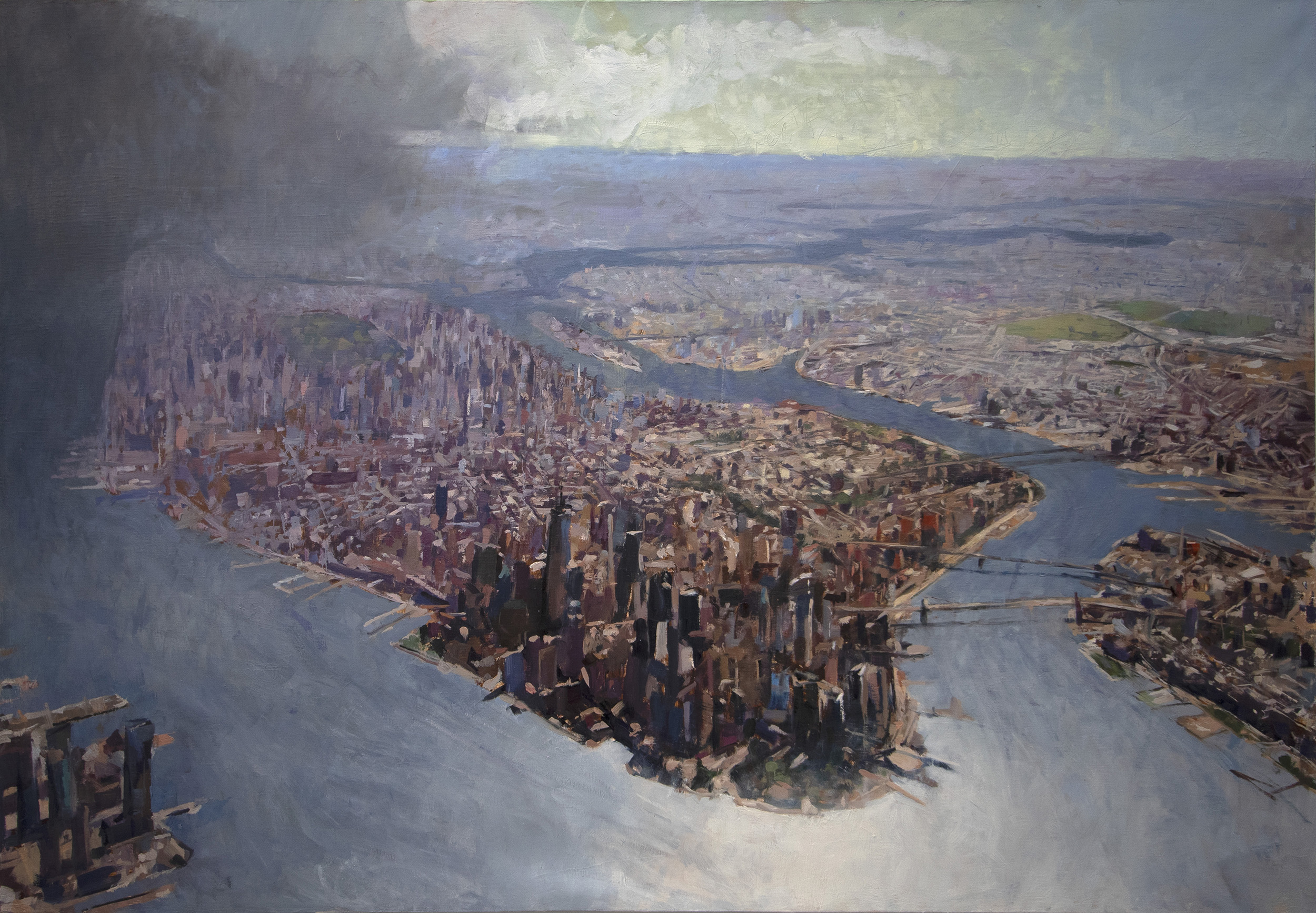Painting image, Reflected in a City, a cityscape of Manhattan Island.