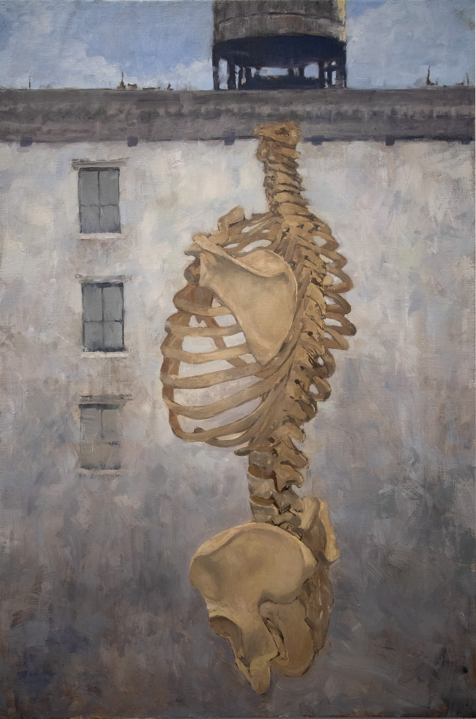 'Body as Architecture' a surrealist painting depicting a partial skeleton in front of a bare building.
