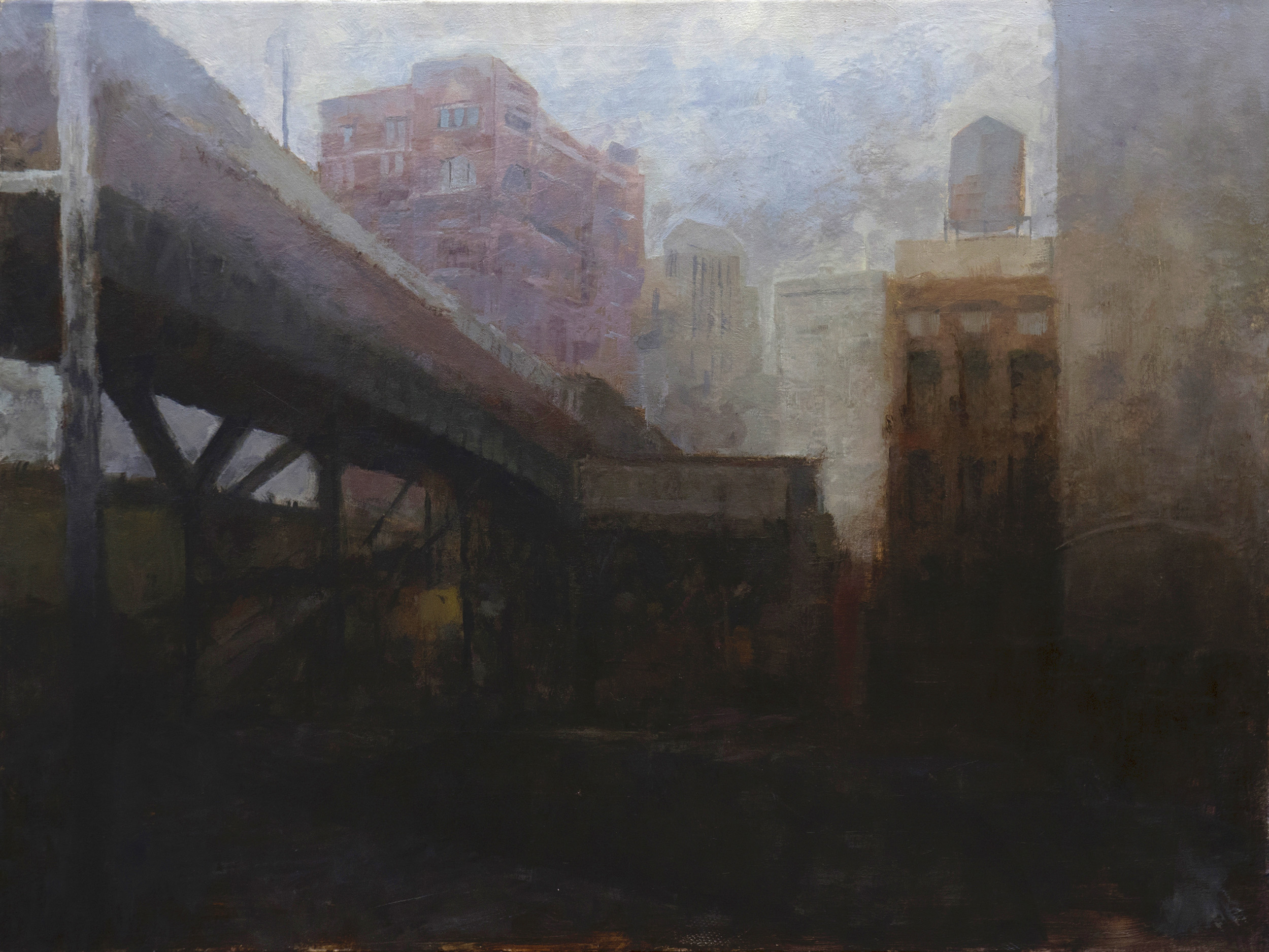 Painting, 'City's Whisper,Sustained', depicting an imaginary New York cityscape
