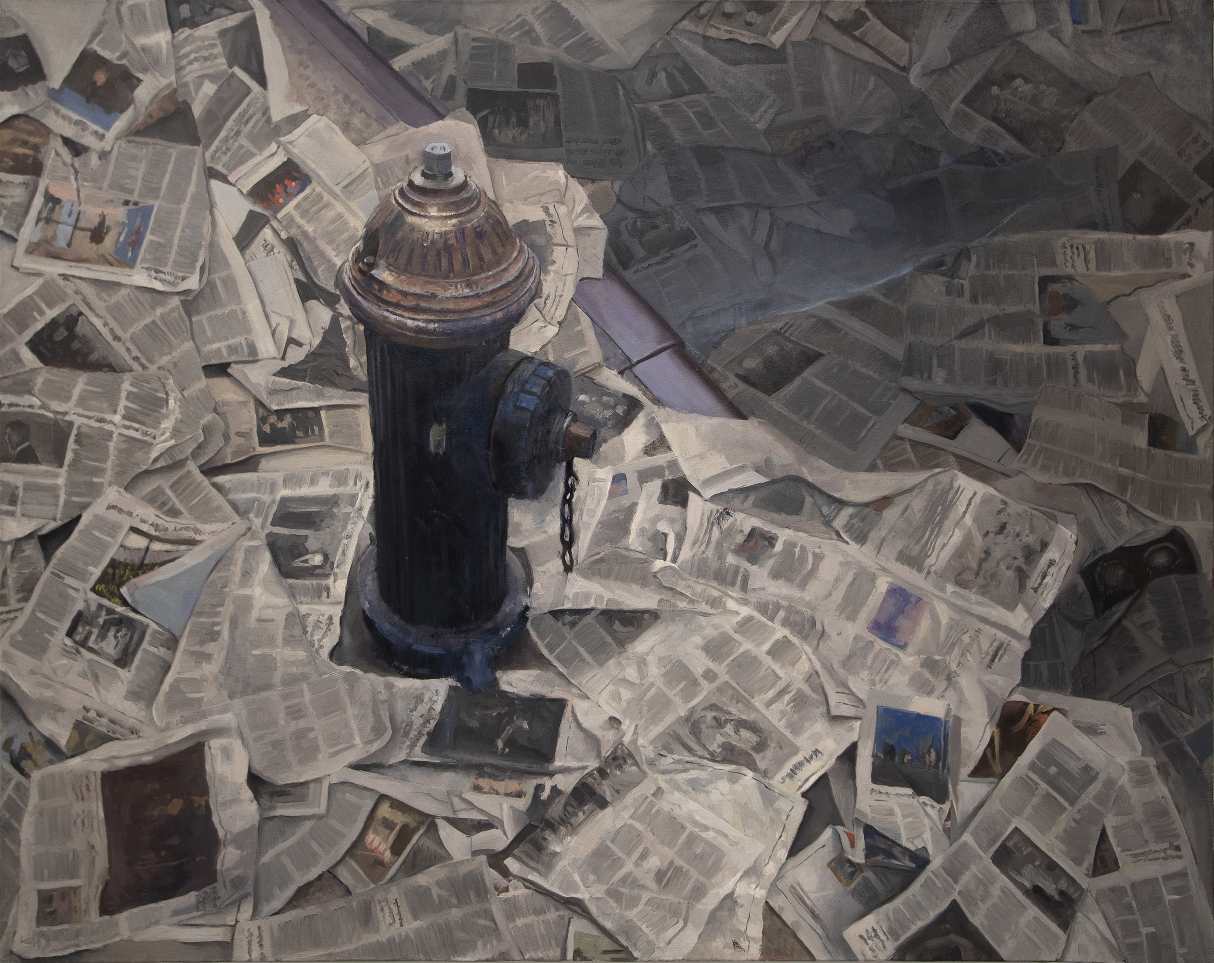 Painting, 'Real News', fire hydrant surrounded by discarded newspapers